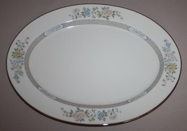 "Gorham Cherrywood Oval Serving Platter 16"" Fine China Platinum Band - $128.65"