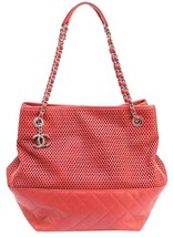 CHANEL Tote Leather Shoulder Bag UP IN THE AIR North South Shopper Coral... - $1,686.25