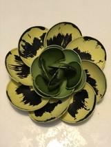Vintage 3 Colored Green-Chartreuse & Black Metal Enamel Flower Brooch 1960's - $29.92