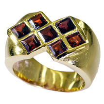 charming Garnet Gold Plated Red Ring Natural casually US gift - $12.99