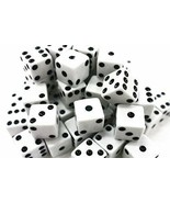 100pc White Dice Bulk Pack Standard Size 16MM Casino Board Game Pieces F... - $9.49