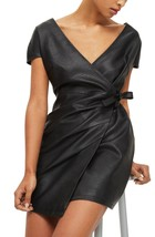 Real Leather Wrap Dress Dress Cocktail Party Women Leather Dress - $185.00
