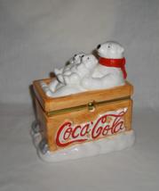 2002 Coca Cola Polar Bear Ceramic Candy Canister/Trinket Jewelry Box - $14.95