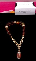 Avon Beaded Stretch Football Charm Dangle Bracelet Gold tone Brown  Women's - $4.90