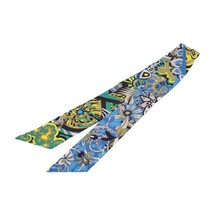 Hermes Tsuiri ribbon scarf silk multi-color blue yellow khaki black Auth - $332.70