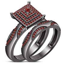 Round Cut Red Garnet Engagement Ring Bridal Set 14k Black Gold Plated 92... - $107.45