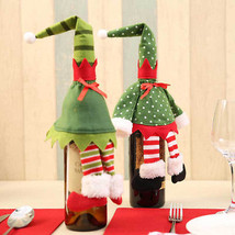 Mini Dress Hat Red Wine Bottle Set Cover Bag Christmas Ornament Home Par... - £1.83 GBP
