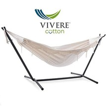 Vivere Double Hammock with Space Saving Steel Stand, Natural 450 lb Capa... - $101.95