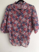 Thailand Handmade Floral Pink Top Batwing Blouse Button Up Shirt ¾ sleeve S M - $16.99