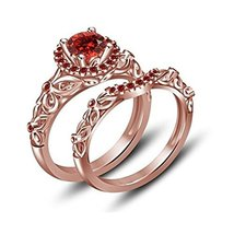 Round Red Garnet Disney Princess Engagement Wedding Ring Set 14K Rose Gold Fn - $79.99