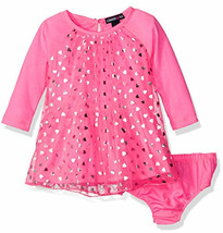 NWT Limited Too Baby Girls Neon Pink Silver Heart Dress 24 M Valentine's... - $7.14