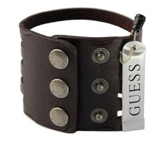 NEW NWT GUESS MEN'S CLASSIC STUDDED CUFF WRISTBAND BRACELET BROWN 102251 image 2