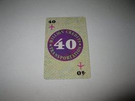1986 Power Barons Board Game Piece: $40 Million Credits Transportation card - $1.00