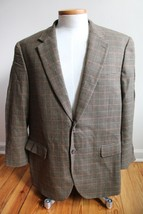 Chaps 46R 100% Lambswool Brown Houndstooth Two-Button Sport Coat - $30.40