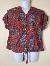 Dressbarn Womens Plus Size 1X Red Paisley Button Front Blouse Tie Short ... - $9.90