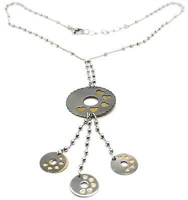 SILVER 925 NECKLACE, CHAIN BALLS, FLOWER, HEARTS, DISCS HANGING, BICOLOR