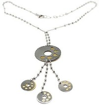 SILVER 925 NECKLACE, CHAIN BALLS, FLOWER, HEARTS, DISCS HANGING, BICOLOR image 1