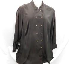 Elizabeth Liz Claiborne Shirt Blouse Size 18 Rust Green Button Front Lon... - $8.90