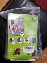 PAWFULL No Pull Reflective Dog Harness Kit with DIY ID. Leash, Waste Bags. Black