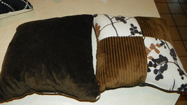 Pair of Brown Cream Decorative Print Throw Pillows  17 x 17 - $49.95