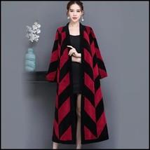 Luxury Long Red And Black V Neck Chevron Design Lamb Shearling Sheepskin Coat image 5