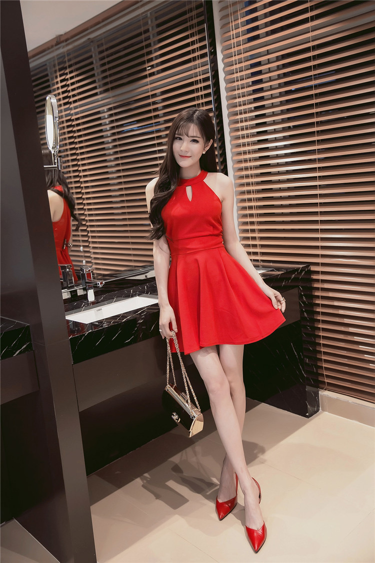 PF260 sexy cute sleveless swing mini dress, size S-XL, red for sale  USA