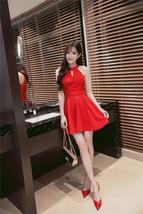 PF260 sexy cute sleveless swing mini dress, size S-XL, red - $18.80