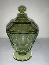 Vintage Fostoria Glass Coin Olive Green Pedestal Candy DIsh Wedding Bowl... - $28.04