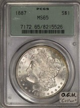"1887 Morgan Dollar PCGS MS-65; Old Green Holder ""Collar"" - $227.69"