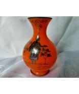 Signed Czechoslovakia Tango Orange Glass Classic Vase Silver Overlay Lad... - $46.50