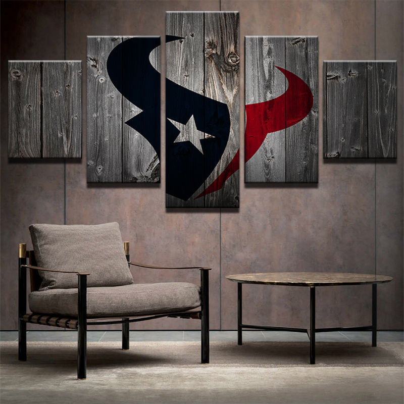 News 5 Panels Houston Texans Retro Vintage Painting Canvas