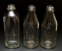 Set of 3 Antique Vintage Dairy Milk 1 Pint Clear Thick Glass Bottles - $29.21