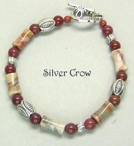Crazy Lace Agate, Mookite Bright Silver Bracelet - $20.99