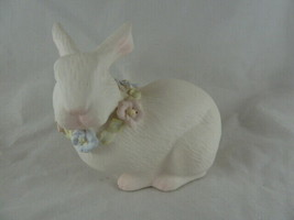 Vintage White Bisque Porcelain Bunny Rabbit with flowers around neck PRE... - $10.39
