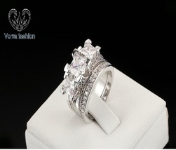 Bridal Engagement Ring Set In Princess Cut White CZ 14k Gold Plated 925 Silver - $103.99