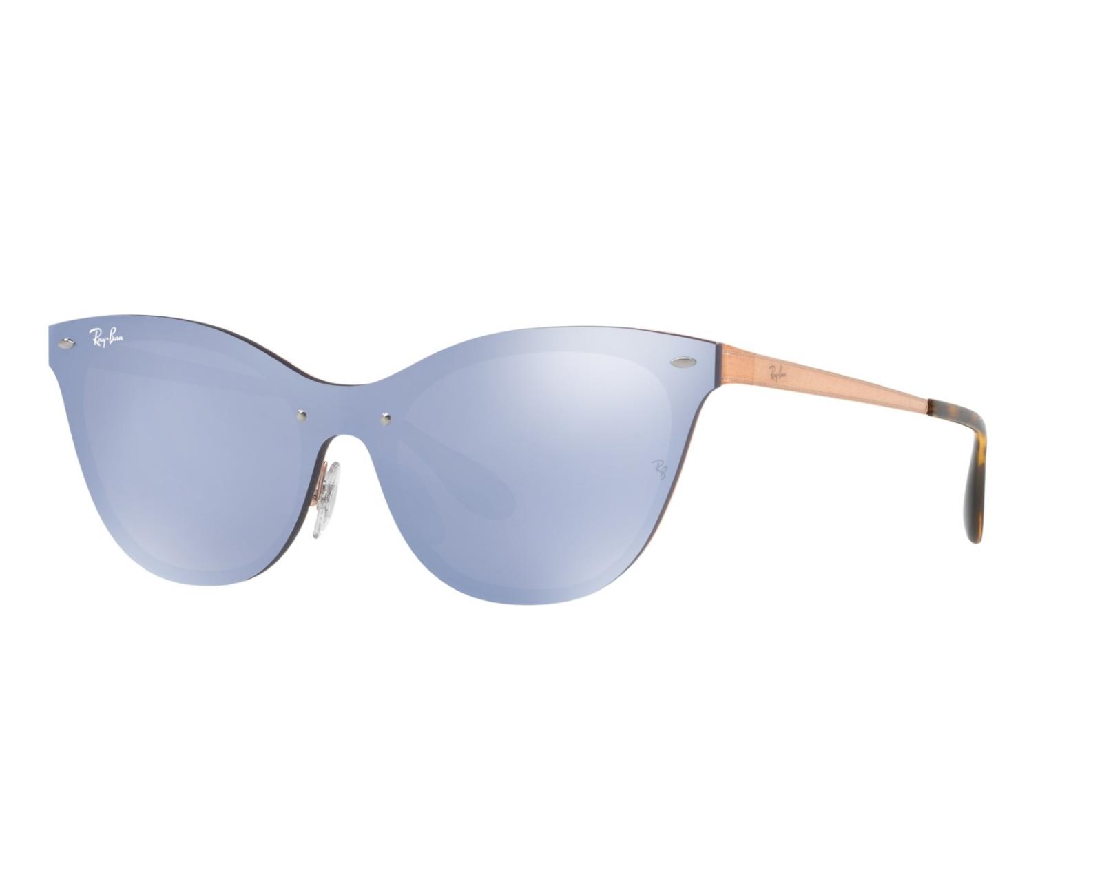 Rayban Cateye Blaze Sunglasses RB3580N 90391U Bronze Violet Mirror New 43mm