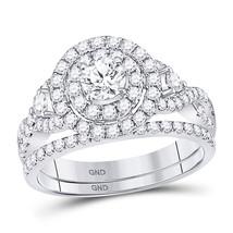 14kt White Gold Round Diamond Bridal Wedding Engagement Ring Band Set 1-1/2 Ctw - $2,599.00
