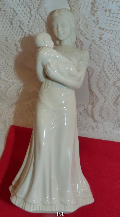 "Lenox USA China Jewels Collection Quiet Time Mother & Baby White 9"" Figurine"