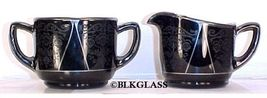 Westmoreland Black Glass Creamer And Sugar, Art Nouveau Etch, Elegant De... - $34.87
