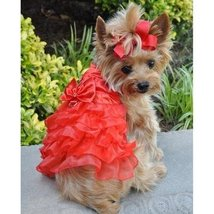 Holiday Dog Harness Dress - Red Satin - $59.99