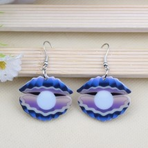 Cute clam lovely printing drop earrings acrylic new design spring/summer... - $9.19