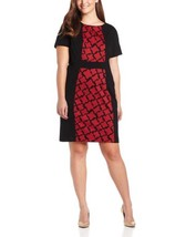 Anne Klein Houndstooth Ponte Dress 22W Red/Black Modest Versatile Day To... - $36.55