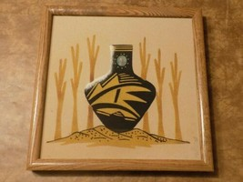 """Native American Navajo Tribal Sand Painting Pottery Picture Framed 13"""" X... - $49.50"""