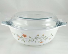 "Pyrex England Emily Dish 8"" Spring Garden Vintage 1986 w/ Blue Tint 29C Lid - $25.00"