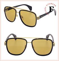 GUCCI Stripe 0448 Black Gold Brown Sport Square Aviator Sunglasses GG0448S Men - $301.95