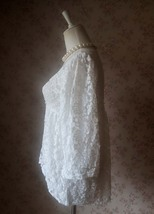 Rustic Lace Plus Size Lace COVER-UP Ivory Lace Coverup Boho wedding Women TOPS image 3