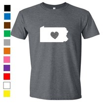Pennsylvania Shirt Love Home Heart T-Shirt Funny Humor State Apparel Col... - $12.59+