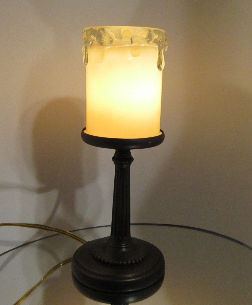 Night Light Electric Candle Lamp 12 inches Tall Brass Weighted Stand