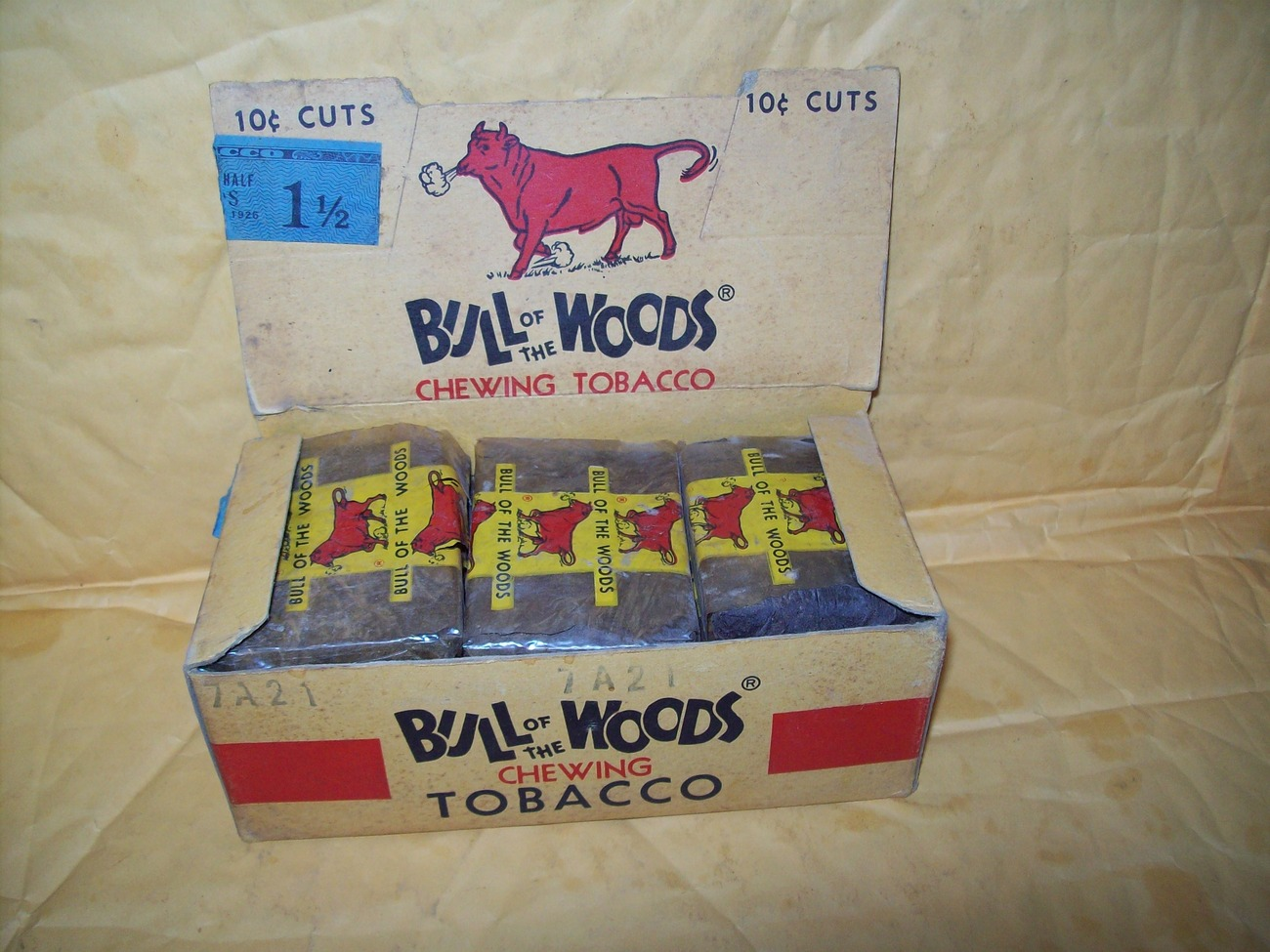 bull of the woods rare vintage original box of 15 10 cent plugs chewing tobacco
