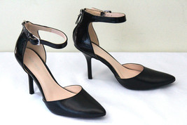 NEW! Nine West Black Leather NW7BLUGRASS Sexy Ankle Strap Classic Heels 8 M $135 - $51.60
